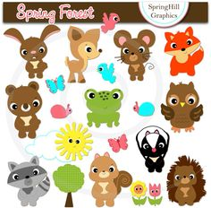 Instant Download Forest Animals spring by SpringHillGraphics, $5.00