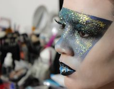 Adding glitter!  Make-up by Karla Powell at Temptu New York