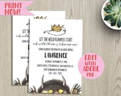 where the wild things are // birthday invitation // baby shower // wild one // birthday invitation // baby shower editable invitation Wild One Birthday Invitations, Printable Baby Shower Invitations, Wild Ones, Wild Things, Online Converter, Types Of Printer, Text You, Baby Shower Themes, Just In Case
