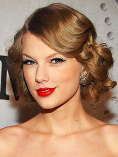 Taylor Swift s retro-inspired updo featuring pin curls adds old Hollywood  glamour to her red 200568981b