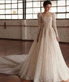 wedding dress winter chana marelus fall 2019 bridal long puff sleeves square straigh across neckline fully embellished a line ball gown wedding dress glitzy princess romantic cathedral train mv -- Chana Marelus Fall/Winter 2019 Wedding Dresses Hijab Wedding Dresses, Dream Wedding Dresses, Designer Wedding Dresses, Sparkle Wedding Dresses, Hijab Dress Party, Vintage Wedding Dresses, Bridal Hijab Styles, Bridal Gowns, Muslim Wedding Gown