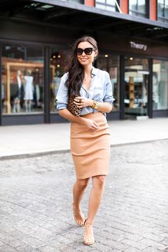 chambray shirt, blush leather pencil skirt, nude strappy sandals, leopard clutch, gold jewelry
