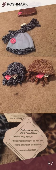 4-piece NWT girls' hats and gloves The hats have leopard print trims but can be reversed as shown in the second picture. They are protected by Scotchgard and one size fits most. Women can also wear them. Bundle & get $3 off. Can't be combined with other offers Accessories