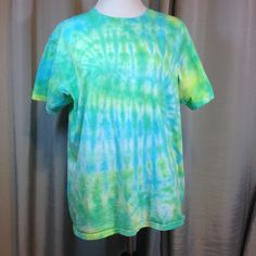 Turquoise and Yellow #Tie Dyed Tea Shirt Adult Extra Large, Hippie Tea Shirt, Unisex Tea Shirt by Oldtonewjewels on Etsy