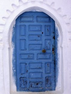 blue and white door, morocco.