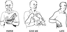 Paper give me late Hand Sign Language, Simple Sign Language, Sign Language Chart, Sign Language For Kids, Sign Language Phrases, Sign Language Alphabet, Learn Sign Language, American Sign Language, Lady Rules