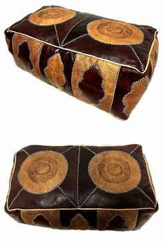 Moroccan Leather Hassack Rectangular Ottoman Pouf Seat in Brown Tan Large Poof  #Handmade #Moroccan