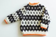 Love the pop of orange trim Icelandic baby knit sweater by thebirdyandthebear on Etsy Baby Knitting Patterns, Baby Sweater Knitting Pattern, Knit Baby Sweaters, Boys Sweaters, Knitting For Kids, Crochet For Kids, Crochet Baby, Knit Crochet, Crochet Patterns