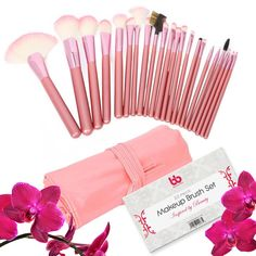 Best Professional Makeup Brushes Set - 22 Pc Pink Cosmetic Foundation Make up Kit - Beauty Blending for Powder & Cream - Bronzer Concealer Contour Brush - Beauty Bon. 22 PIECE PROFESSIONAL MAKEUP BRUSH SET: Beauty Bon® brings you an amazing 22 Piece Pink Makeup Brush Set that is of professional quality. From blush brushes to contouring brushes, you will find all you need in this diverse set!. SOFT BRISTLES THAT STAY: Beauty Bon® makeup brushes are the best because we make our brushes with...