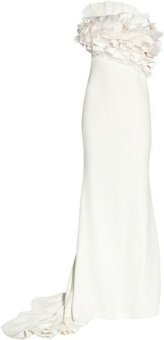 MARCHESA Silk-crepe Ruffled Column Gown - Lyst