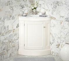 Brinkley Demilune Single Corner Sink Console - White #potterybarn