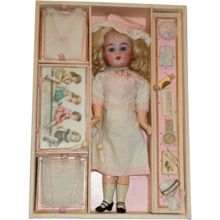 """EXTRAORDINARY Presentation Box with Simon & Halbig Walking Doll and Accessories!, from """"Antique Doll Treasures"""""""