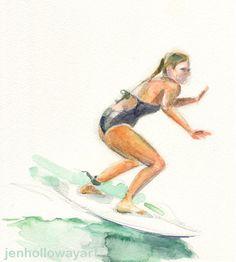 Watercolor Surfer, Surfer Print, Surfer Art by jenhollowayart on Etsy Surf Style, Beach Houses, Watercolor Paintings, Fine Art Prints, Surfing, Original Art, Studio, Artist, Swim