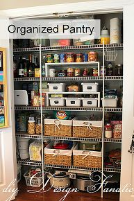 keep your pantry organized, closet, organizing, storage ideas, Baskets help keep your pantry items in the right place