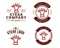 Steak store logo template Logo Restaurant, Restaurant Design, Cow Logo, Meat Store, Grill Logo, Vintage Menu, Vintage Food, Logo Food, Visual Identity