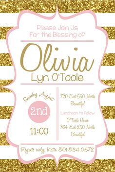 LDS Baby Blessing Invite Gold & Pink by BlondieDesignz on Etsy