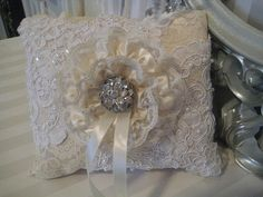 Lace Ring Pillow Cream and White Lace vintage by ForeverLoveNotes, $39.95
