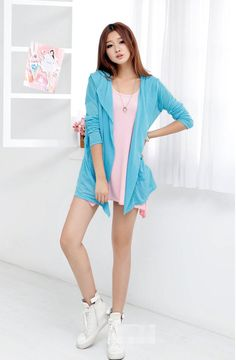 Blue Cotton Long Line Asian Fashion Cardigan Hoodie With A Waist Belt