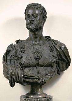 Benvenuto Cellini - Bust of Cosimo I (+ 2 details) 1546-47, bronze,Museo Nazionale del Bargello, Florence.