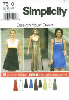 Simplicity 7510 Sewing Pattern Misses Empire Dress Size 4 - 8 by Simplicity, http://www.amazon.com/dp/B0037OD346/ref=cm_sw_r_pi_dp_uXEosb0FDW5XM