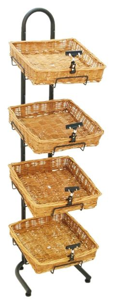 Wicker Basket Display Stand | 4 Sign Clips - Great for Retail as well as the Home Pantry & Cute for Fall!