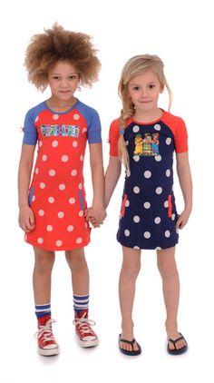 Dress Transfer red dot and blue dot Br@nd for girls summer 2016 www.brandforgirls.nl
