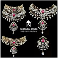 A collection of multi purpose jewellery with diamond, emerald and ruby embellishments by Shankarlal Jewellers. Diamond Choker, Diamond Jewelry, Gold Jewelry, Fine Jewelry, Diamond Necklaces, Diamond Pendant, Jewlery, Jewellery Showroom, Latest Jewellery