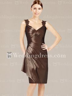 Taffeta Short Mother of the Bride Dress with Lace Straps MO088