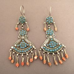 """This afternoon on my site www.halter-ethnic.com under the item """"My Lucky Finds"""", this old pair of earrings in silver, turquoises and corals coming from Afghanistan...enjoy wearring nice ethnic jewels!"""