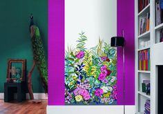 Casadeco So WALL Vegetal 2013 Tapet Illustrationer Blommor Växter Rosa Vägg