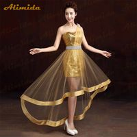 Alimida Golden Evening Dress Long Prom Dresses 2016 New Fashion Short Front Long Back vestido de festa longo robe de soiree