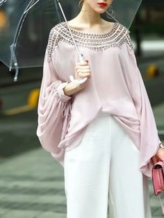 Beaded Crew Neck Two Piece Casual Batwing Blouse