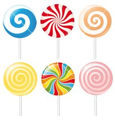 Lollipops vector image on VectorStock Lollipop Decorations, 21st Birthday Decorations, Paper Doll House, Paper Dolls, Candy Theme Classroom, Mason Jar Clip Art, Candy Paint, Homemade Stickers, Lollipop Candy