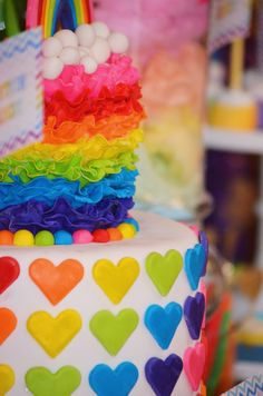 Rainbow Themed Dessert/Candy Table & Party Decor for 1st Birthday Party: JULIANA Dessert/Candy Table & Cake Table Elements Include: • Cake: Cookies & Cream flavored Cake; base cake covered in fondant...