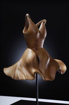 "Aart Prins ~ ""Dress without the woman"" *dress sculpture pear wood carving* aartprins.nl http://www.aartprins.nl/afbeeldingen/beelden/Dress.JPG"