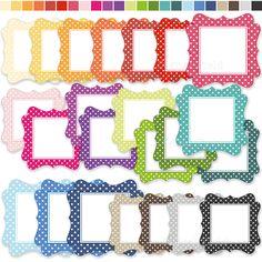 INSTANT DOWNLOAD Colorful polka dot labels / frames clip art set  - printable digital clipart. $3.00, via Etsy.