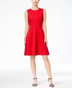 TOMMY HILFIGER Tommy Hilfiger Ribbed Knit Fit & Flare Dress. #tommyhilfiger #cloth # dresses