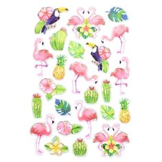 Tropical Flamingo Foil Accented Watercolor Epoxy Stickers, 24-Piece