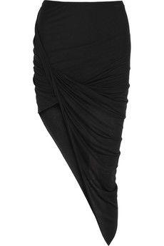 Helmut Lang Asymmetric draped jersey skirt   NET-A-PORTER