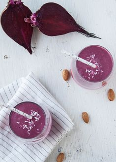 Beet Coconut Dream Smoothie: 1 cup cooked and pureed beets, 1 banana, 2 dates, 2 Tablespoons almond butter, 1 Tablespoon chia seeds, 1/2 cup full fat coconut milk, 3/4 cup almond milk, 1/4 teaspoon vanilla extract, 1/2 teaspoon ground cinnamon, 1/8 teaspoon ground ginger, 2 ice cubes
