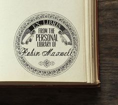Library Stamp  Personalized Wooden Stamp  Book by BARNSTATIONERY