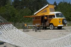 Volkswagen camper on camping Bakkum