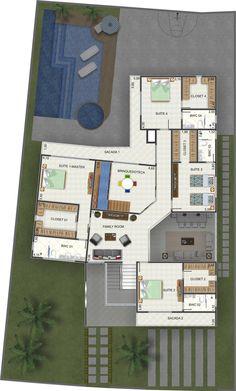 Planta de Sobrado - 4 Quartos - 388.17m² - Monte Sua Casa