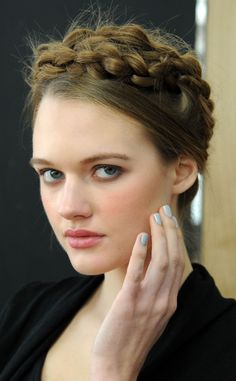 BRAIDS & PALE BLUE NAILS Whit from New York Fashion Week Beauty Looks: Fall 2014 Hair & Makeup | E! Online