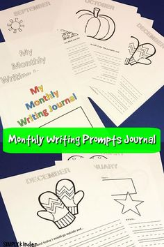 Writing prompts for the school year! Each month September to June has a picture to color and a writing prompt to complete. Kindergarten journal. #monthlyjournalprompts #writing #kindergarten #journaling
