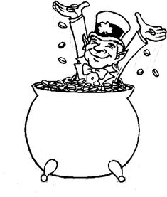 leprechaun coloring pages (free) | Leprechaun pot of gold coloring ...