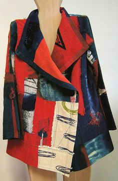 EF Vest Tibetan red in mixed silk | Holly Badgley Design | Wearable Art Jacket: