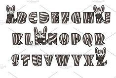 Cartoon Zebra font Lettering. Alphabet set