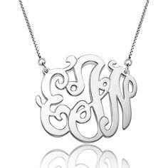 925  Sterling Silver Dangle Celebrity Monogram Letter Flower Custom Made Any Initial Pendant Necklace Pugster.com