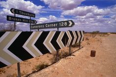 Outback road signs on Silver City Highway, near Tibooburra. City Highway, New South Wales..